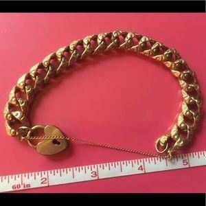 Jewelry - Victorian gold filled bracelet heart padlock clasp